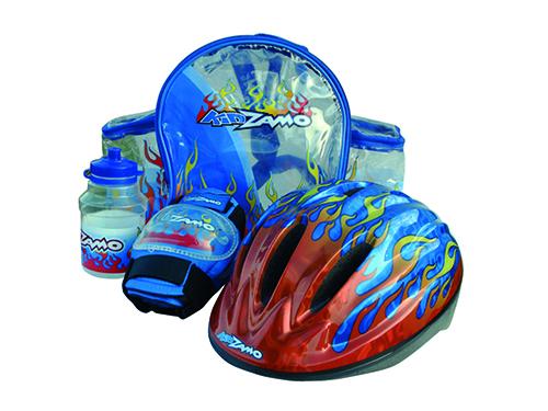 KIDZAMO set FLAME modrý přilba+chrániče+láhev+batoh 52-56cm