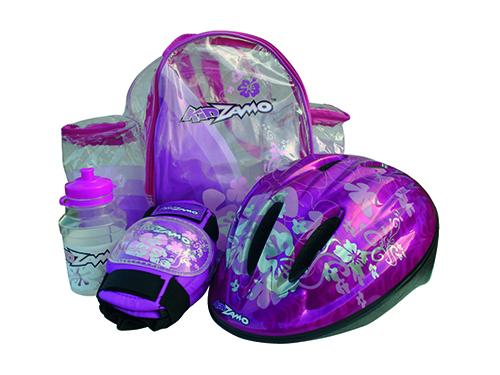 KIDZAMO set FLOWER růžový přilba+chrániče+láhev+batoh 52-56cm
