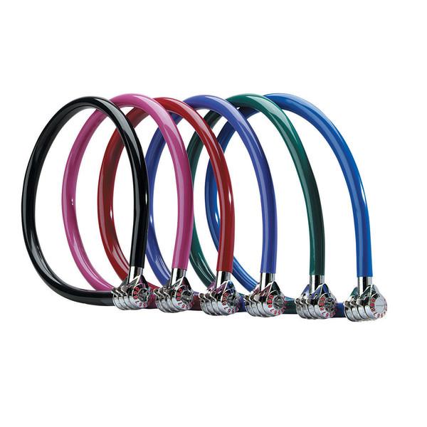 MasterLock Ocelový kabelový zámek 55cm x  6mm neměnná 3 číselná kombinace, vinylový potah – modrý od ninex.cz