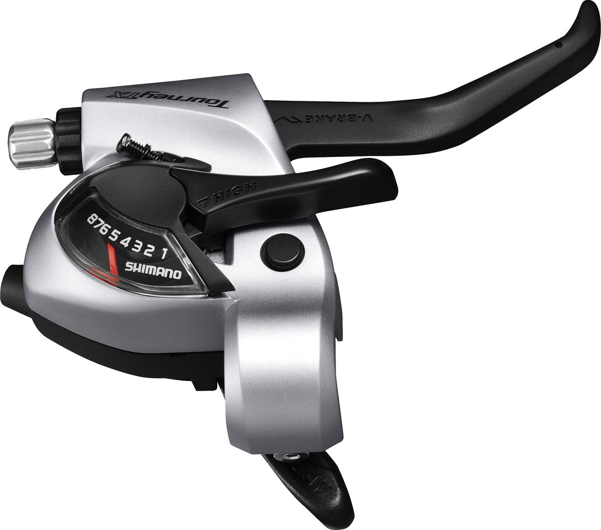 Shimano řad/brzd. páka TOURNEY ST-TX800 MTB/trek pro V-brzdy pravá 8 rychl 2 prstá stříbrná