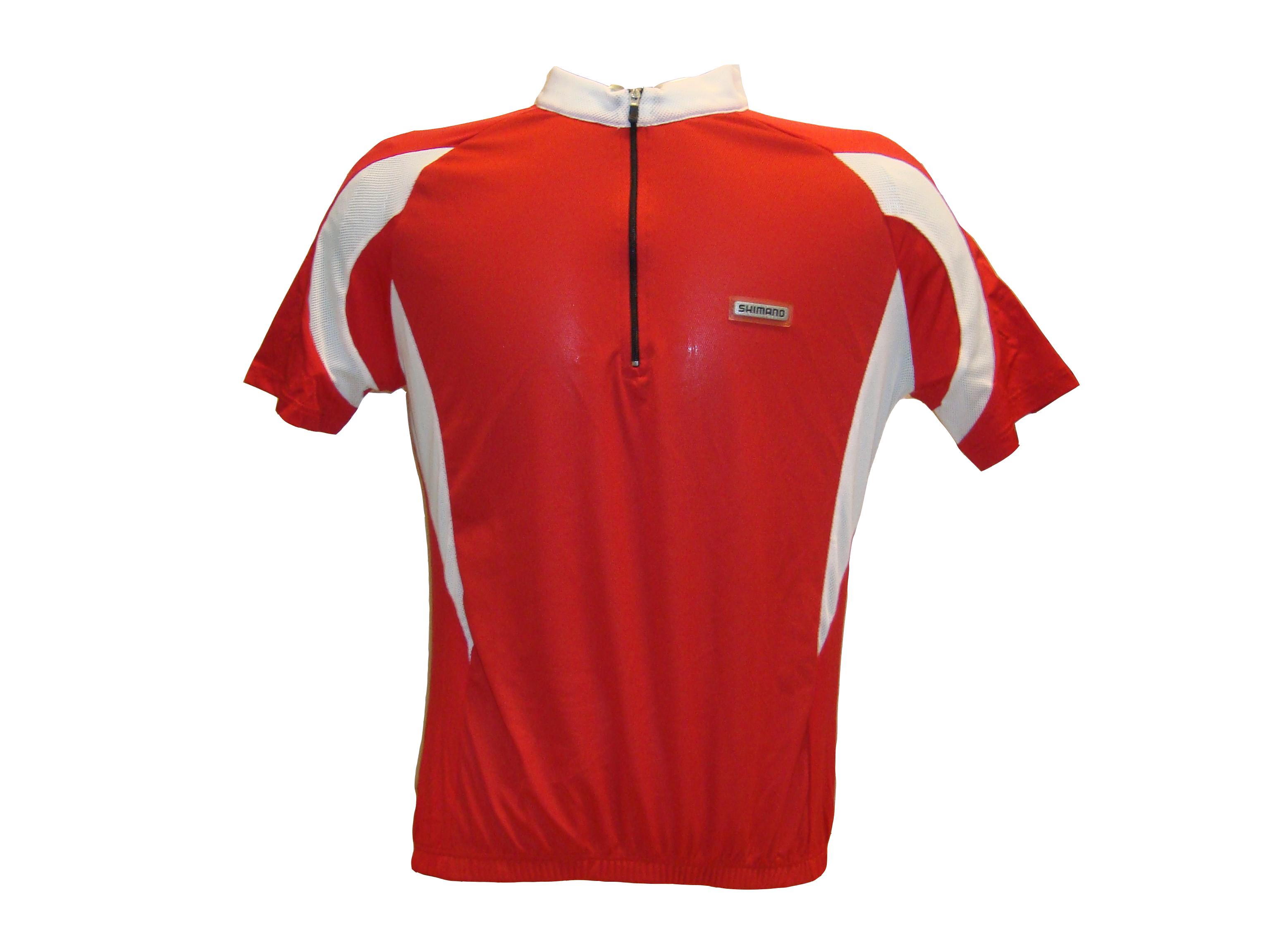 SHIMANO dres krátký rukáv, bílá/červená, M