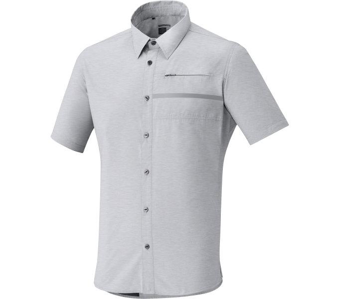 SHIMANO Transit Check tričko s knoflíčky - krátký rukáv, Hliníková, M