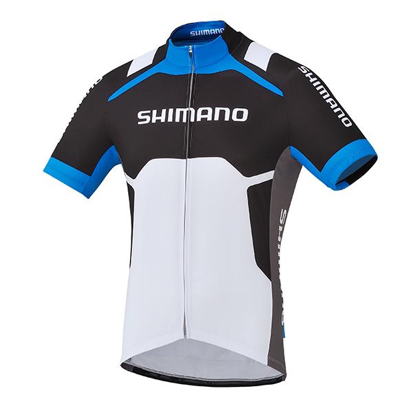 SHIMANO dres s potiskem, bílá/cobalt modrá, M