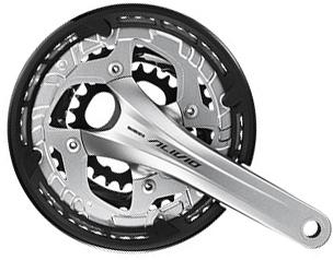 SHIMANO kliky ALIVIO FC-T4060 integr.klika 3x9 175 mm 44x32x22z bez BB misek s krytem stříbrné