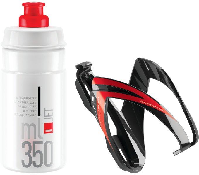 ELITE KIT CEO košík lesklý černý/červený + láhev JET čirá/červená, 350 ml