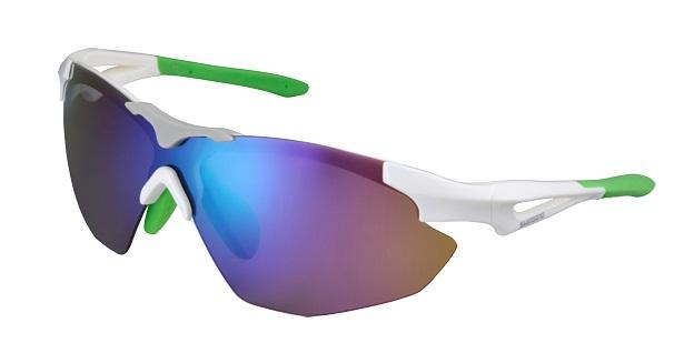 SHIMANO brýle S40R, bílá/zelená, skla kouřová zelená zrcadlová