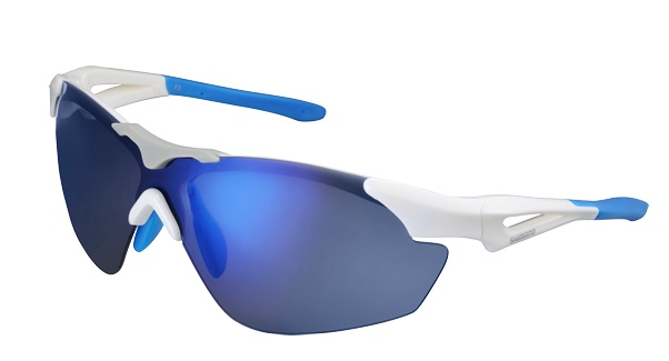 SHIMANO brýle S40RS, bílá/Lightmodrá, skla kouřová modrá zrcadlová