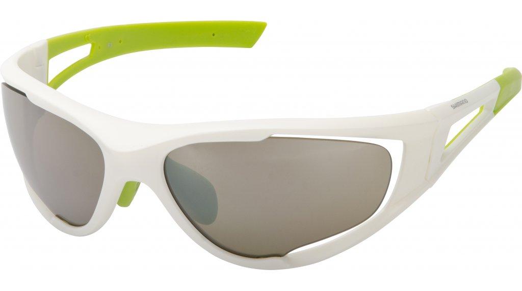 SHIMANO brýle S50X, bílá/neónově zelená, skla zrcadlově hnědá, čirá