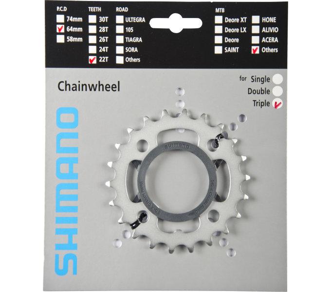 SHIMANO převodník 22z, FC-M442, + kryt řetězu, stříbrný